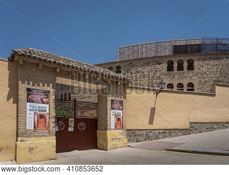 Toledo, Spain, July 2020 - Ancient Bullring In The City Of Toledo, Spain