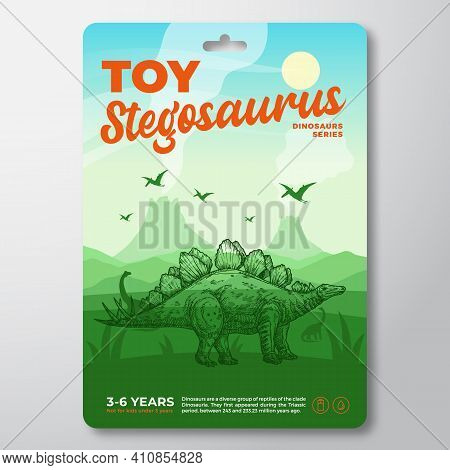 Toy Dinosaur Label Template. Abstract Vector Packaging Design Layout. Modern Typography With Prehist