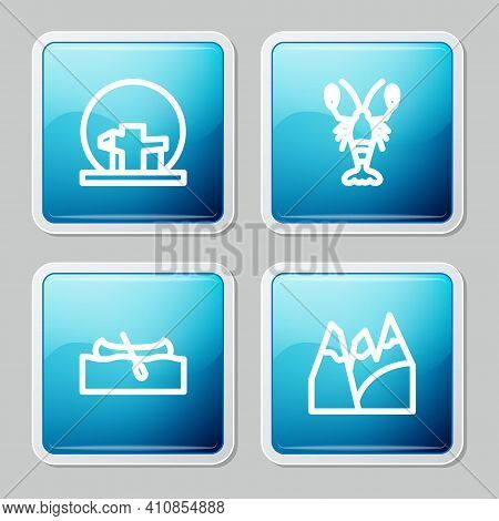 Set Line Montreal Biosphere, Lobster, Kayak Or Canoe And Mountains Icon. Vector