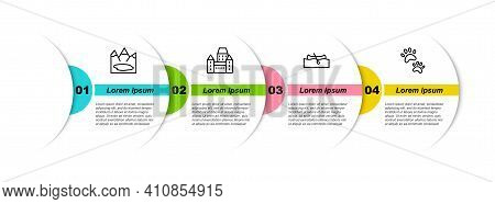 Set Line Canadian Lake, Chateau Frontenac Hotel, Kayak Or Canoe And Paw Print. Business Infographic