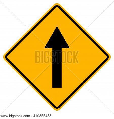 Go Straight Traffic Sign On White Background
