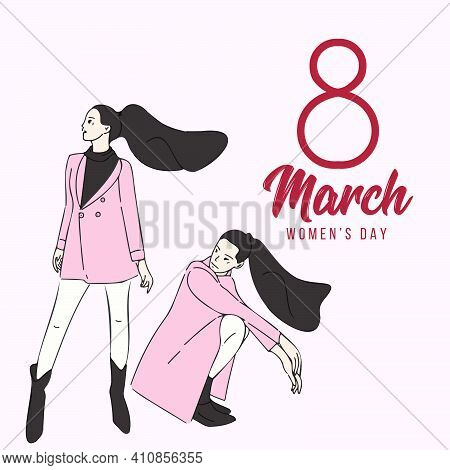 Two Women Standing And Squat Pose. Cartoon Characters Vector Illustration Of Women's Friendship Or S
