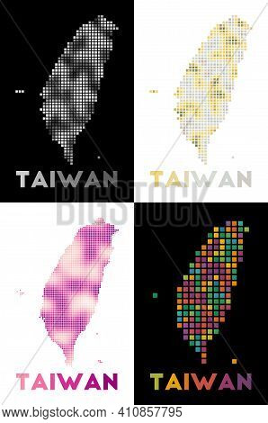 Taiwan Map. Collection Of Map Of Taiwan In Dotted Style. Borders Of The Country Filled With Rectangl