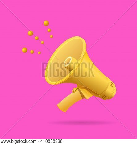 Realistic Detailed 3d Yellow Megaphone On A Pink Background Symbol Of Announce. Vector Illustration