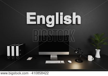 Clean Office Workspace With Computer Screen And Dark Concrete Wall; English Lettering; Education Con