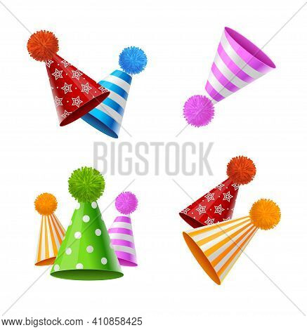 Realistic Detailed 3d Party Hat With Fluffy Balls Pompons Set Anniversary Or Carnival Concept. Vecto