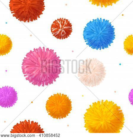 Realistic Detailed 3d Colorful Pom Poms Seamless Pattern Background On A White. Vector Illustration