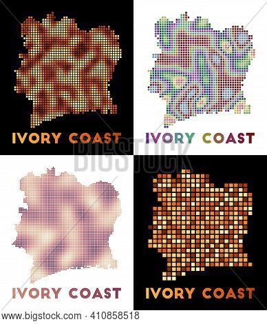 Ivory Coast Map. Collection Of Map Of Ivory Coast In Dotted Style. Borders Of The Country Filled Wit