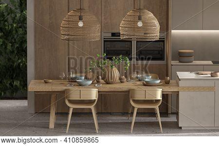 Minimalism Modern Interior  Scandinavian Design. Bright Studio Living, Kitchen And Dining Room. Wood