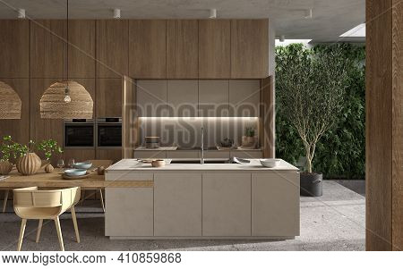Minimalism Modern Interior  Scandinavian Design. Bright Studio Living, Kitchen And Dining Room. Wood