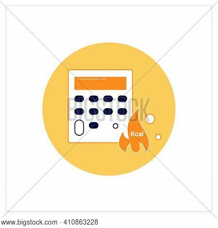 Calorie Calculator Flat Icon. Online Food Counter. Healthy Eating. Calorie Count. Serving Size. Weig