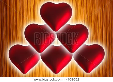 Six red Christmas hearts on yellow abstract background poster