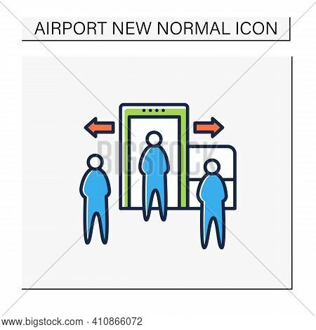 Passenger Processing Color Icon. Decentralise Passengers Processing. Moving Security Screening To Ex