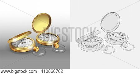 Realistic 3D Models Of Gold Pocket Watches. Two Classic Pocket Watches Poster Design Template. Color