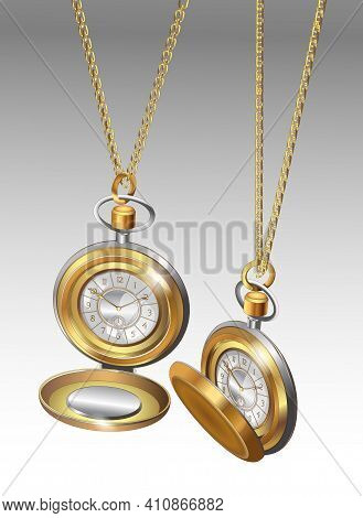 Realistic 3D Models Of Two Gold Pocket Watches With Chains. Golden Classic Pocket Watches Poster Des