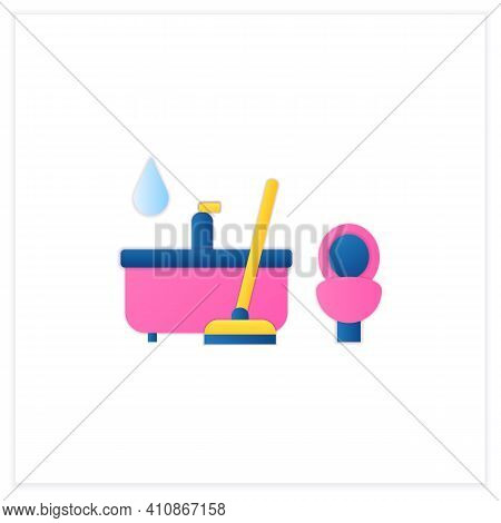 Bathroom Cleaning Flat Icon. Home Cleanup. Bath And Toilet Cleanup. Washing, Wiping. Cleaning Servic