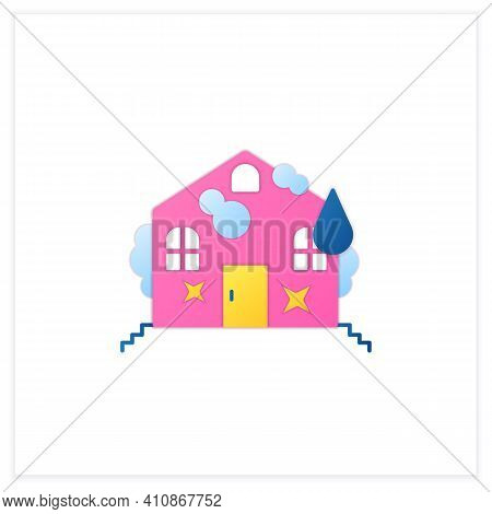 Deep Cleaning Flat Icon. Spring Outdoor Cleanup. Sweeping, Wiping. House Maintenance. Housekeeping C