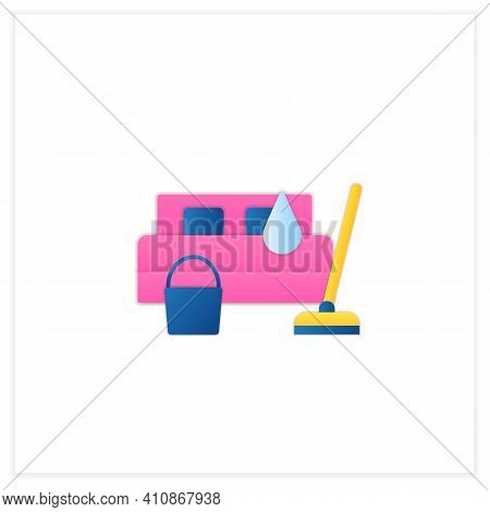 Bedroom Cleaning Flat Icon. Home Cleanup. Bed Dry Cleanup. Mopping, Wiping, Dusting. Cleaning Servic
