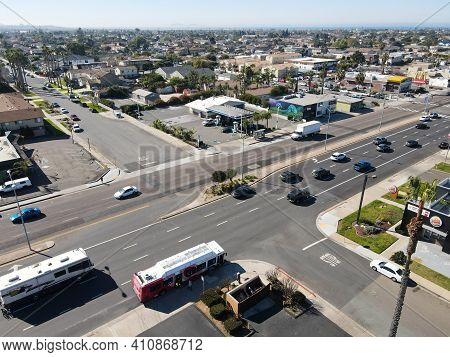 Aerial View Of Street And Houses In Imperial Beach Area In San Diego, California, Usa. 28 February,