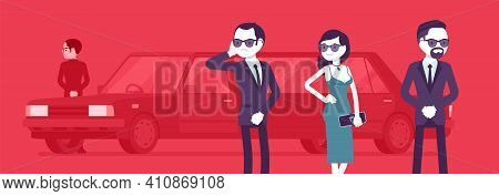 Group Of Bodyguard People Escort Protect Important Famous Woman. Personal Security For Attractive Vi
