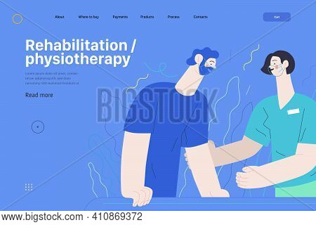 Medical Insurance Web Page Template- Rehabilitation And Physiotherapy -modern Flat Vector Illustrati