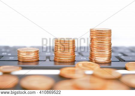Monetization Earn Money Online. Growth Stacks Coins On Computer Keyboard. Deposit Coins Infographic.