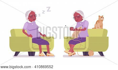 Old Black Woman, Elderly Person Knitting In Armchair, Sleeping. Senior Citizen Over 65 Years, Retire