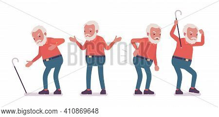 Old Man, Elderly Person With Cane Having Heart, Back Ache. Senior Citizen Over 65 Years, Retired Bea