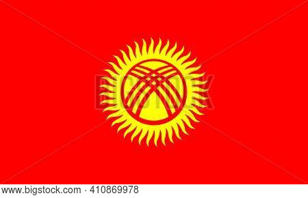 National Flag Of Kyrgyzstan Officially The Kyrgyz Republic, In The Original Size,colours And Proport