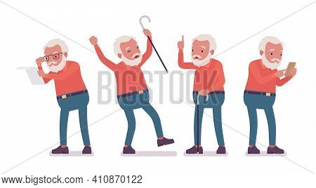 Old Man, Elderly Person With Cane, Mobile Phone. Senior Citizen Over 65 Years, Retired Bearded Grand