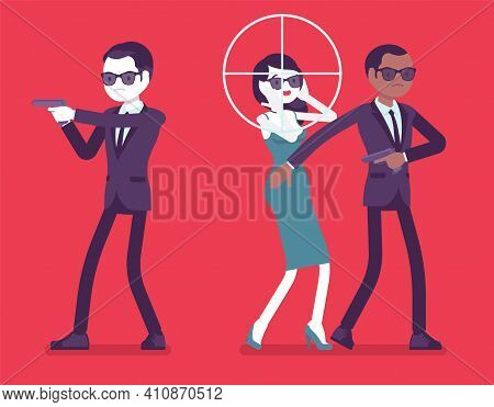 Bodyguard Men Protect Important Famous Woman, Sniper Optical Sight. Professional Trained Armed Perso