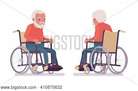 Old Man, Elderly Person Sitting In A Wheelchair. Senior Citizen Over 65 Years, Retired Bearded Grand