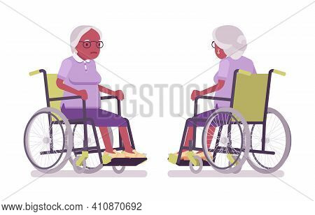 Old Black Woman, Elderly Person Sitting In A Wheelchair. Senior Citizen Over 65 Years, Retired Grand