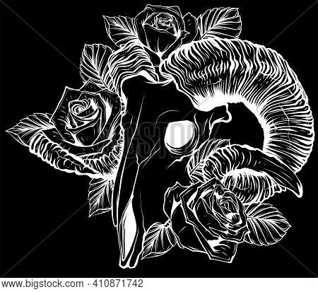 Silhouette Goat Skull Vector Illustration. Goat Devilish Magical Symbol And Flowers Peonies And Rose