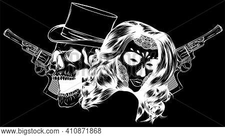 Vector Illustration Silhouette Gangster With Gun And Woman