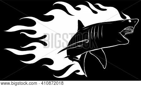 Silhouette Shark With Flames For Tattoo Or Mascot Design, Such A Logo Template.