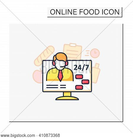 Support Service Color Icon. Day-and-night Community Service. Food Consultant. Phone Assistant, Onlin