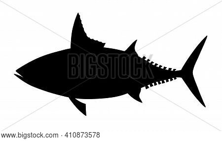 Mackerel Tuna. Black Realistic Silhouette Vector Image.