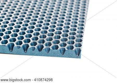 Blue Hexagonal Punched Eva - Ethylene Vinyl Acetate Foam Carpet Linear Perspective Background With S