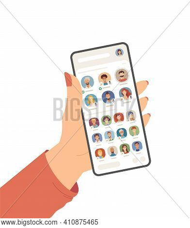 Female Hand Holding Cell Phone With Clubhouse App On Screen Flat Vector Illustration
