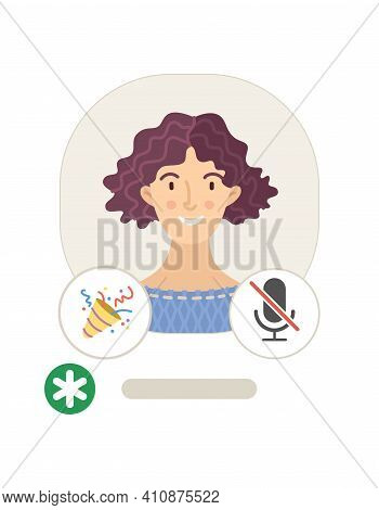Woman profile in Clubhouse mobile app flat vector illustration. Cartoon avatar with moderator and microphone icons isolated on white background. Voice message. Audio social network. Online chatting