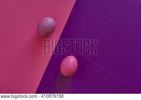 Abstract Combined Violet-pink Background With Diagonal. Painted Violet Egg On A Pink Background, Pai