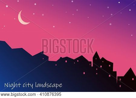 Night Cityscape Houses Silhouette With Moon And Stars On Purple Background. Vector Illustration Of C