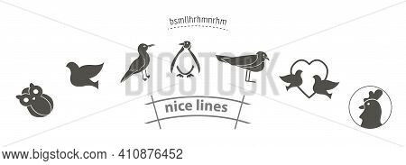 Bird Icon Set With Penguin, Owl, Ostrich, Stork, Cock Pigeons Vector Icon Set, Birds Simple Black Ic