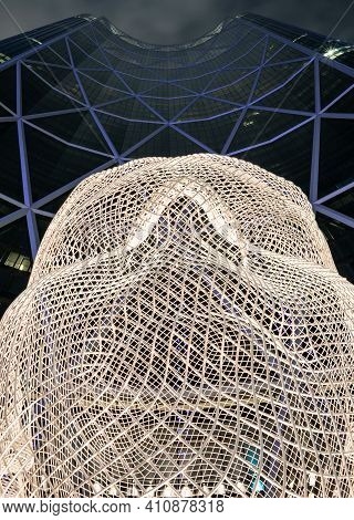 Calgary Alberta Canada, February 17 2021: The Attractive Wonderland Sculpture Under The Bow Tower At
