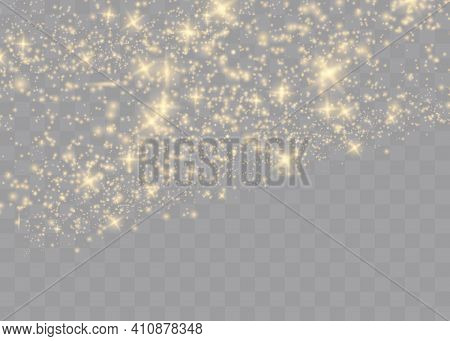 Sparkling Magical Dust Particles .the Dust Sparks And Golden Stars Shine With Special Light. Vector