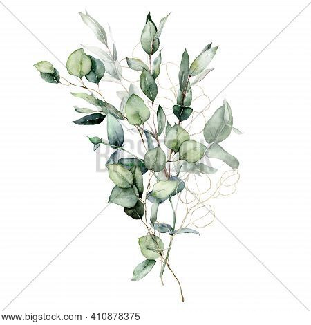 Watercolor Card Of Linear Eucalyptus Branches, Seeds And Leaves. Hand Painted Gold Bouquet Isolated