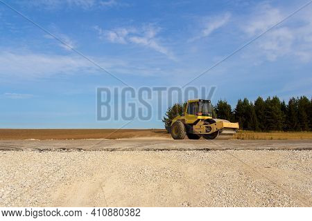 Road Roller On The Construction Of A New Road. Construction Machinery. Dedicated Construction Machin