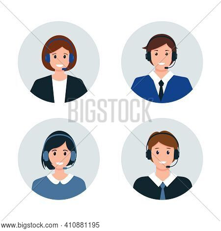 Call Center Or Customer Service Avatars. Male And Female Characters In Headphones. Help, Support And