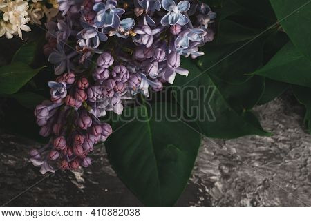 Background For Greeting Card Greeting Beloved Woman Wedding Invitation Flowers Lilac On Wooden Surfa